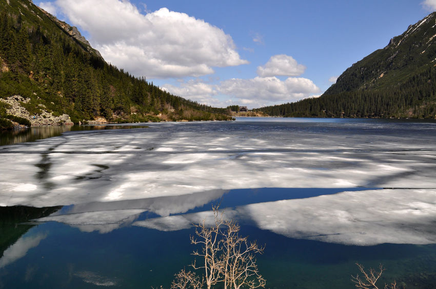 Frozen mountain lake in Poland Beauty In Nature Blue Blue Sky Bluesky Frozen Frozen Lake Ice Ice Age Lake Lakeside Landscape Landscape_Collection Morskieoko Mountain Nature Nature Nature_collection Non-urban Scene Poland Scenics Sky Tranquil Scene Tranquility Water Water Reflections