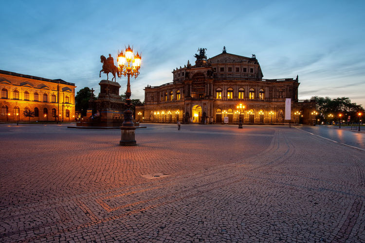 Semperoper at night, Dresden, Germany. Semperoper Semperoper Dresden Opéra Dresden Germany Illuminated Architecture Building Exterior Built Structure Sky Dusk Cloud - Sky City Nature Street Travel Destinations No People The Past Arts Culture And Entertainment Outdoors Night Lighting Equipment History