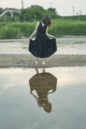 Water Reflection Real People One Person Rear View Day Wet Rainy Season Casual Clothing
