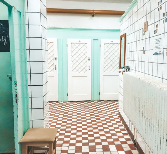 Baths Architecture Built Structure Building Door Entrance No People Building Exterior Absence Window Empty Tile Flooring Wall - Building Feature Seat Arcade Tiled Floor Corridor Outdoors Budapest Baths Hungary Eastern Europe Gellert Széchenyi Baths