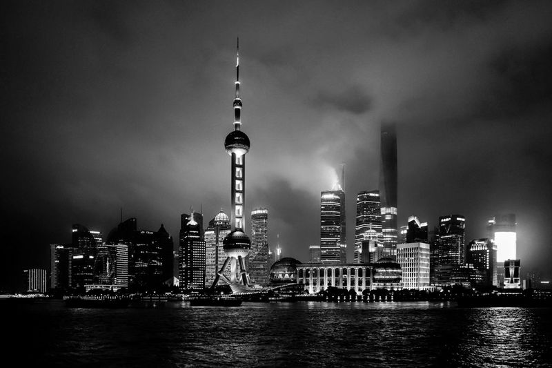 cityscape Shanghai City Cityscape Urban Skyline Water Illuminated Modern Skyscraper Downtown District Business Finance And Industry City Life