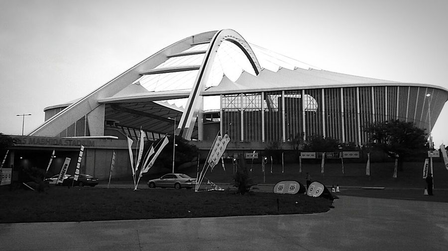 Moses Mabhida Stadium... Monochrome Photography Architecture Building Exterior City Life Going Nowhere Fast Somewhere In South Africa Traveller Of Note