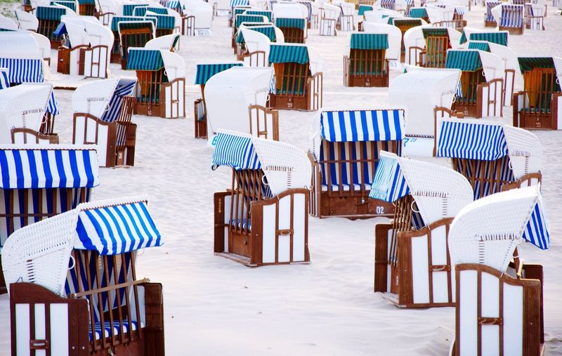 No People Beach Empty Sitting Holiday Trip Sand Relaxation Tourism Summer Travel Destinations Vacations Day Chair Land Seat Table Striped Absence Tranquility In A Row