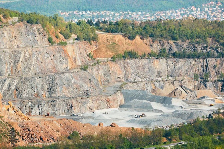 Surface mine in landscape. Stone mining in Czech Republic. City Construction Industry Digging Environment Excavation Geology Heap Industrial Industrial Landscapes Industry Landscape Mine Mining Nature Open Pit Mine Outdoors Quarry Rock Rock - Object Scenery Stone Surface Mine
