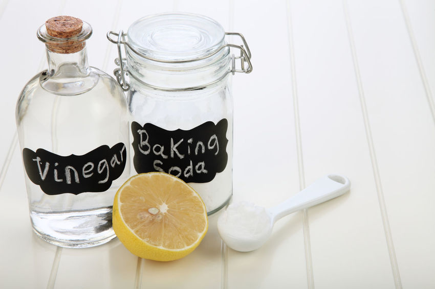 baking soda in the glass container with lemon Alkaline Anti Inflammatory Baking Soda Bicarbonate Clear Sky Close-up Cooking Glass Container Heart Burn Ingredient Jar Label Lemon Medicine Neutralizer Sodium Bicarbonate Spoonful Vinegar White Background White Vinegar