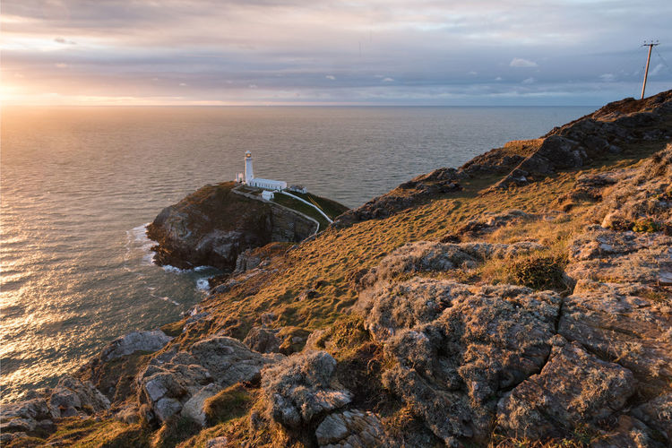 Anglesey Coast Colors Irish Sea Lighthouse North Wales Sea South Stack Lighthouse Sunset Water