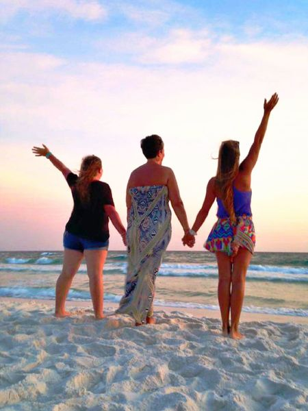 Friendship Togetherness Sand Travel People Cheerful Beauty Summer Beach Happiness Celebration Arms Raised Ocean People Watching Holiday Sea Beautiful People Fun Adolescence  Vacations View From Behind Enjoying The View Rear View People From Behind