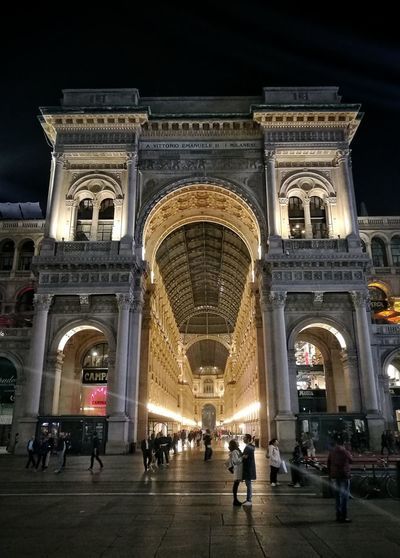 Architecture Tourism Travel Destinations Arch Built Structure Travel Large Group Of People History Vacations People City Life City Illuminated Night Cityscape Sky Outdoors Milano Milan,Italy Milanocity Europe