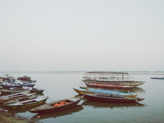 Beauty In Nature Outdoors No People Sky Scenics Mode Of Transport Nature Water Nautical Vessel Reflection Day Tranquility Transportation Ghats Of Varanasi Ghats  Ghatsofganges