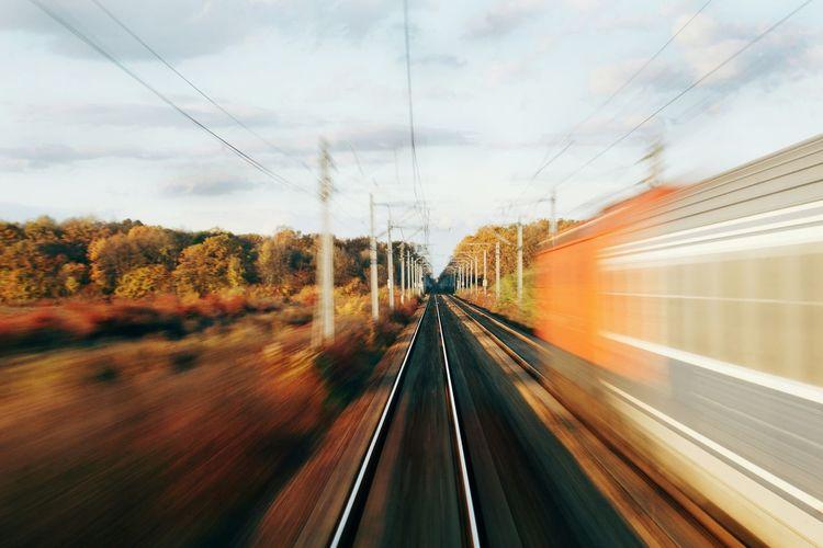 Railroad tracks against sky
