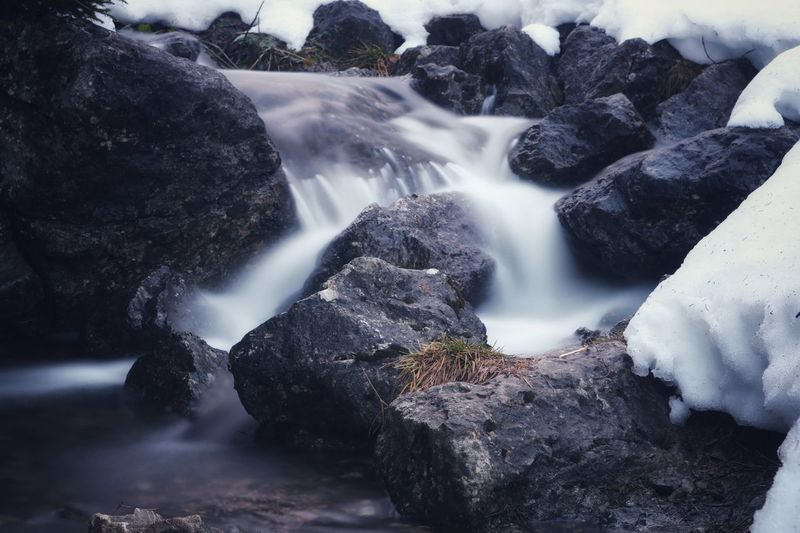 Long exposure of waterfall on rocks during winter