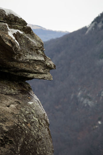 Devils head statue at chimney rock state park