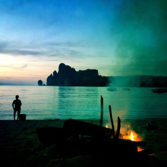 KohPhiPhi, Thailand Dusk Beach Fire