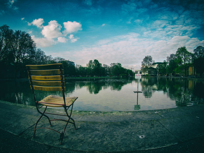 Absence Beauty In Nature Blue Chair Cloud Cloud - Sky Cloudy Day Eckensee Empty Grass Growth Idyllic Nature No People Outdoors Scenics Seat Sky Tranquil Scene Tranquility Tree Water