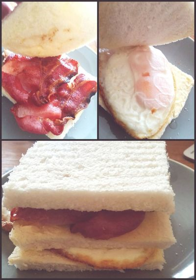 Taking Photos Anatomy Of A Sandwich 😀 Bacon&egg Triple Decker Double Yolk Bacon Is Life Feeling Hungry Food Porn