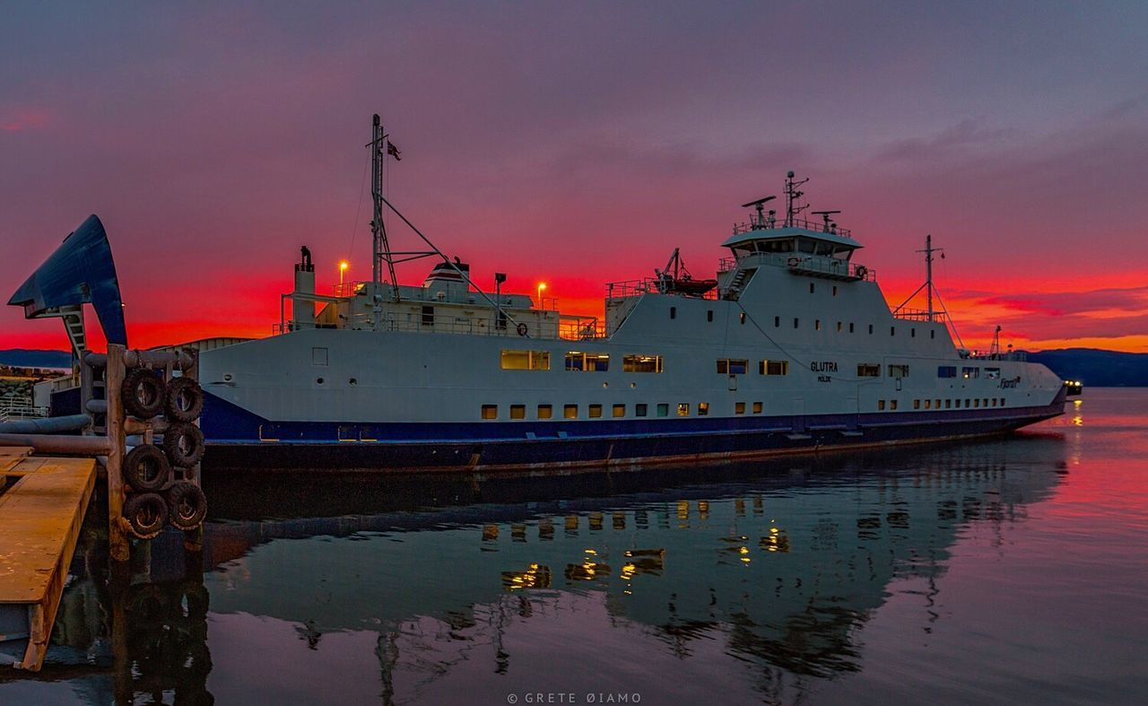 nautical vessel, sky, transportation, reflection, water, cloud - sky, sunset, mode of transport, moored, waterfront, no people, sea, ship, cruise ship, outdoors, nature, harbor, building exterior, day