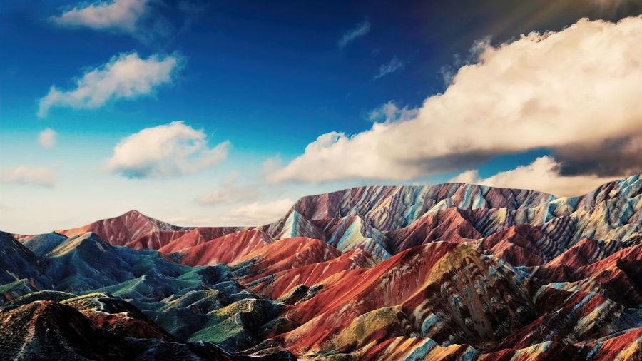 Mount viniknka ,rainbow mountain in the cusco region of peru