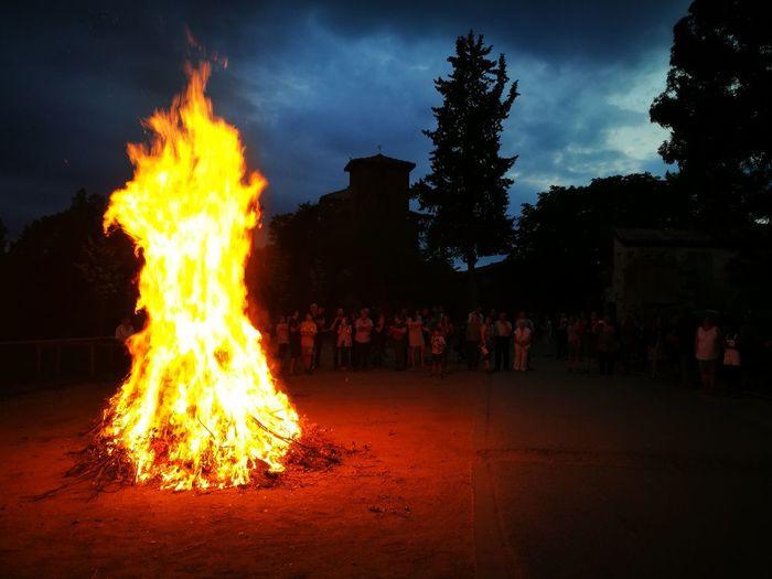 Festes de Sant Joan, portem la Flama del Canigó a tots els pobles de Catalunya +tradicat +Flama_del_Camigó Tree Heat - Temperature City Burning Sky