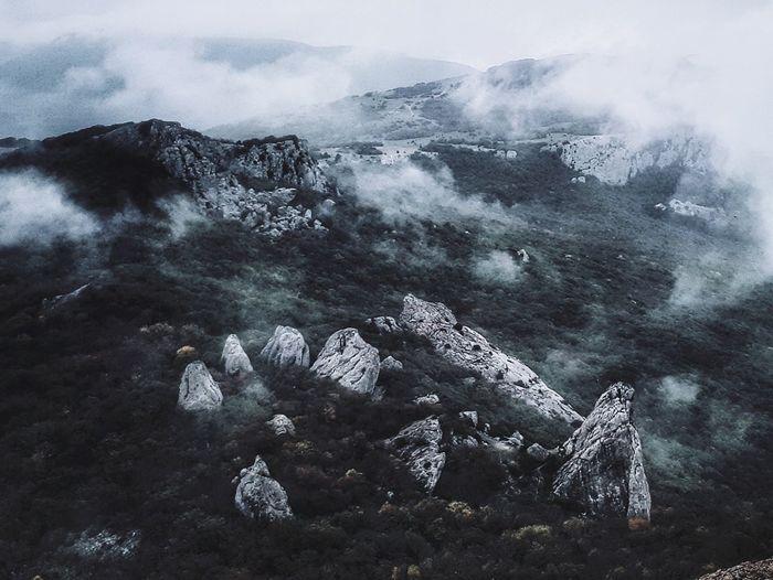 Aerial view of rocks in water