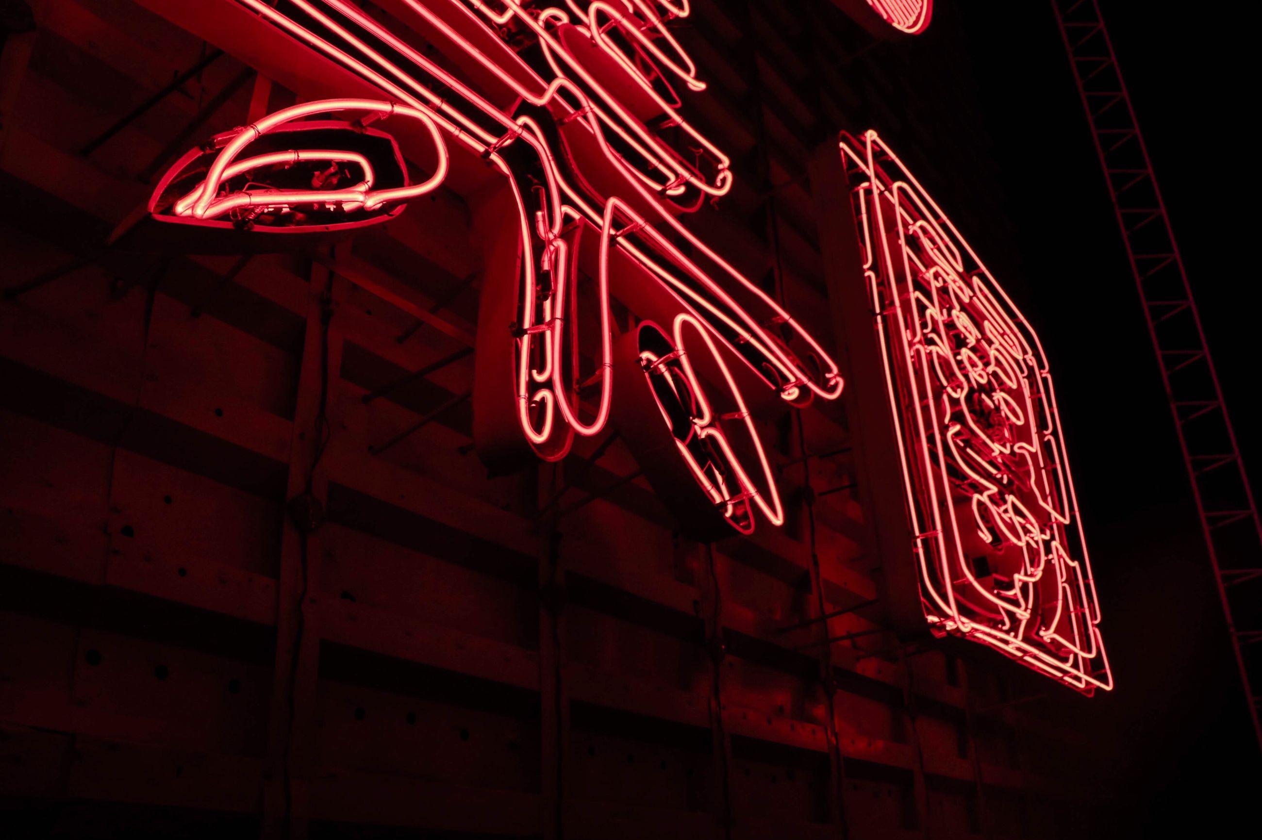 red, illuminated, neon, night, no people, motion, nightlife, outdoors