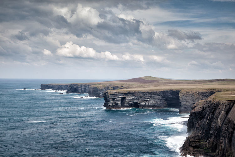 Beauty In Nature Cliffs Cloud - Sky Clouds Day First Eyeem Photo Horizon Over Water Iceberg Ireland Ireland🍀 Loop Head, Nature No People Outdoors Scenics Sea Sky Tranquil Scene Tranquility Travelireland Travelphotography Water Waterfront