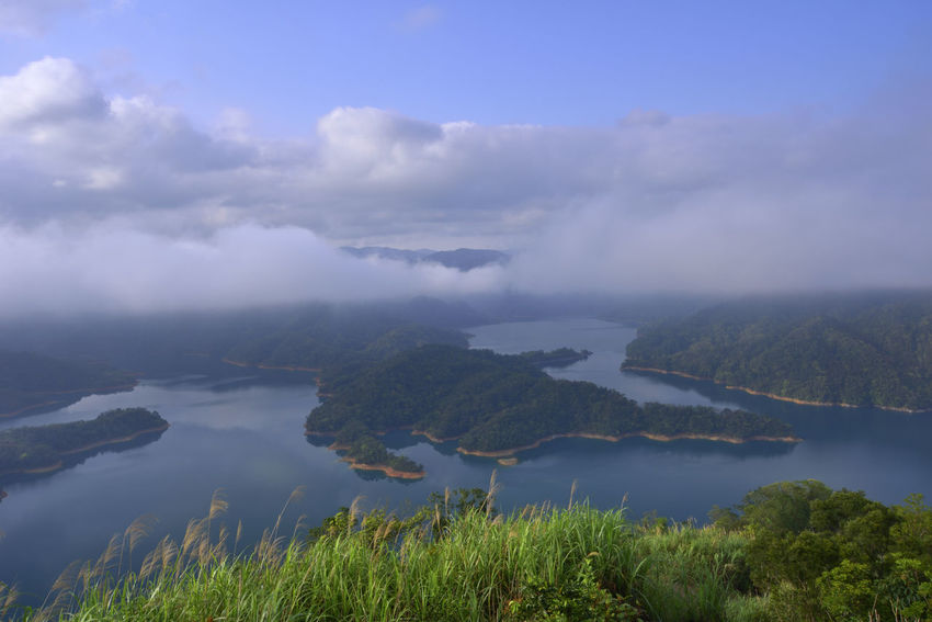 The natural scenery of the lake, the shape of the mountain, like a crocodile squatting on the water. Shape Beauty In Nature Cloud - Sky Cloud And Foggy Crocodile Crocodile Pool Day Environment Fog Green Color Idyllic Lake Landscape Mountain Nature No People Non-urban Scene Outdoors Plant Reservoir Scenics - Nature Sky Tranquil Scene Tranquility Water