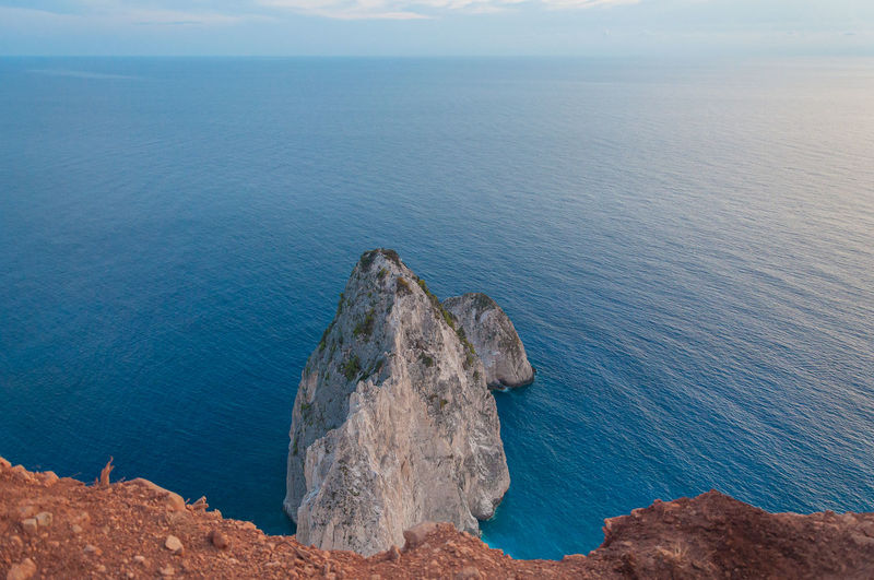 Top view of the two white limestone cliffs of misithres, zakynthos island, greece