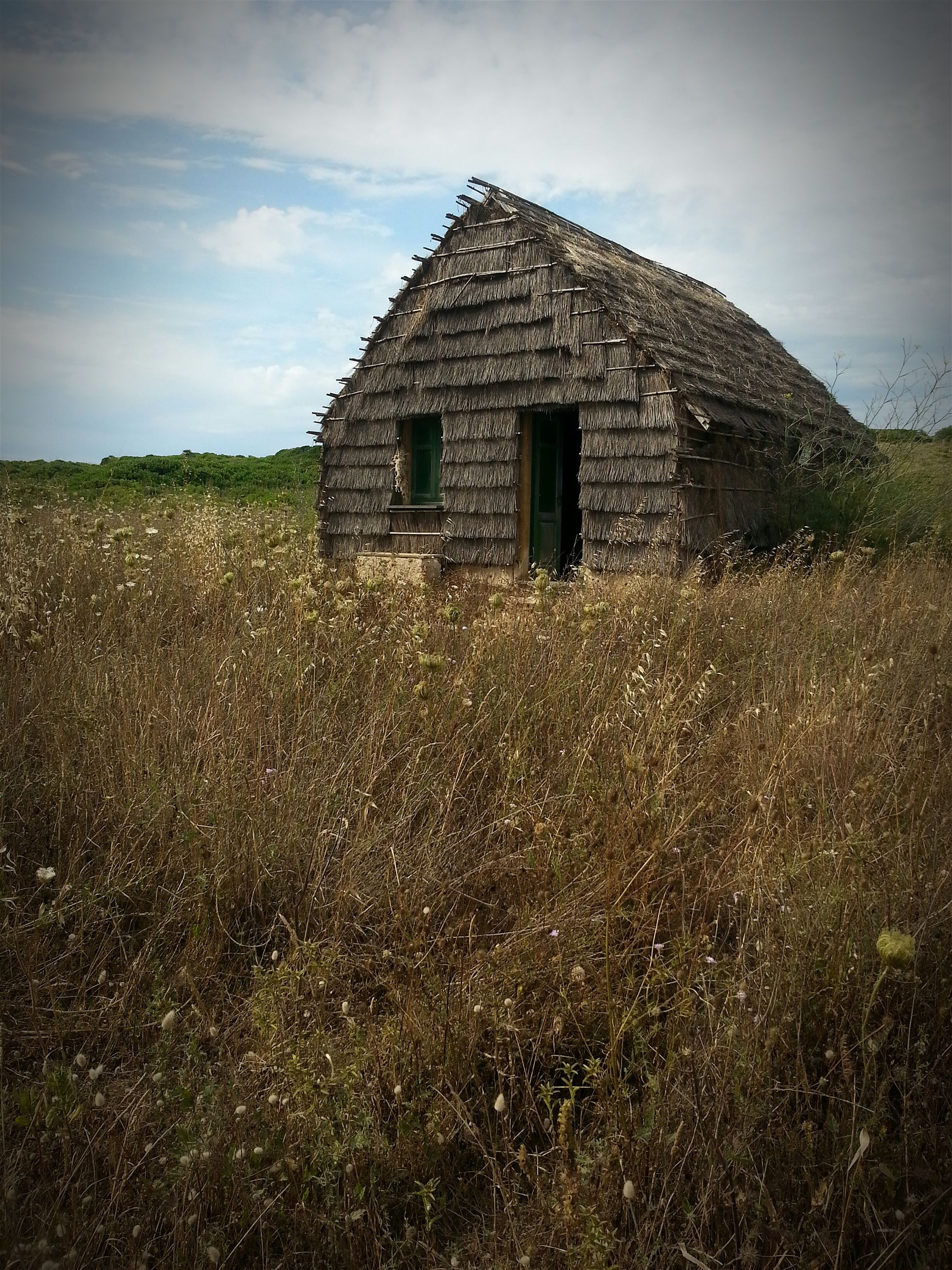 built structure, architecture, building exterior, sky, grass, house, field, cloud - sky, landscape, abandoned, cloud, day, nature, rural scene, plant, stone wall, window, old, no people, outdoors