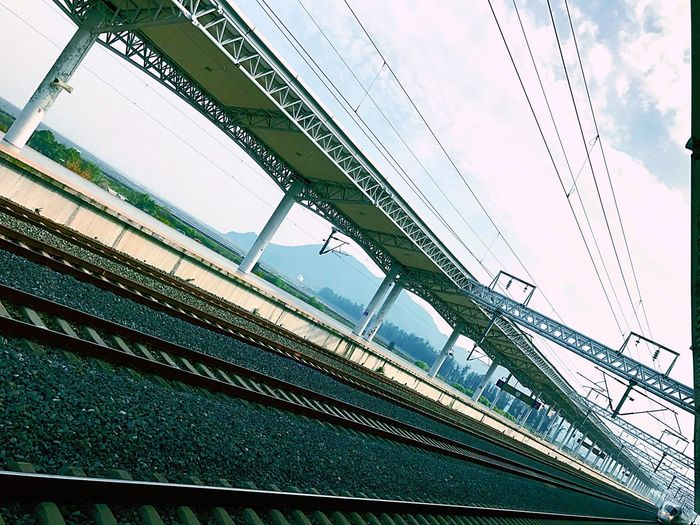 High Speed Rail Transportation Building - Type Of Building Low Angle View Connection Transportation Built Structure Architecture Day Sky Rail Transportation No People Cable Outdoors