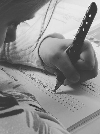 Homework Writting Childhood Human Hand Close-up