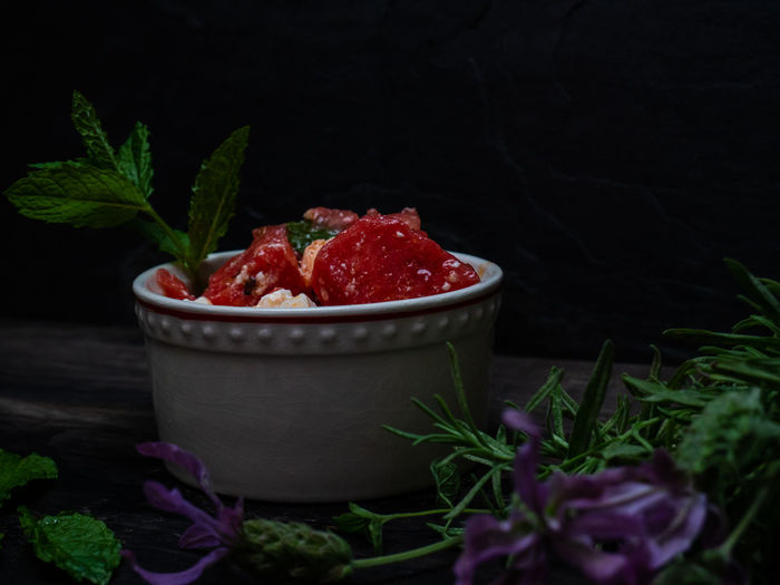 Close-up of strawberries in container