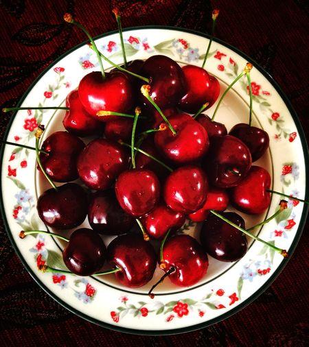 Juicy red cherries on a plate Redcherries Juicy Summerfruits Delicious Healthy Food Eat More Fruit Food Porn Awards