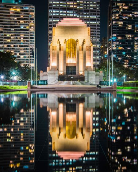ANZAC War Memorial Starburst Hyde Park Sydney War Memorial Architecture Water Reflection Illuminated Built Structure Building Exterior Night