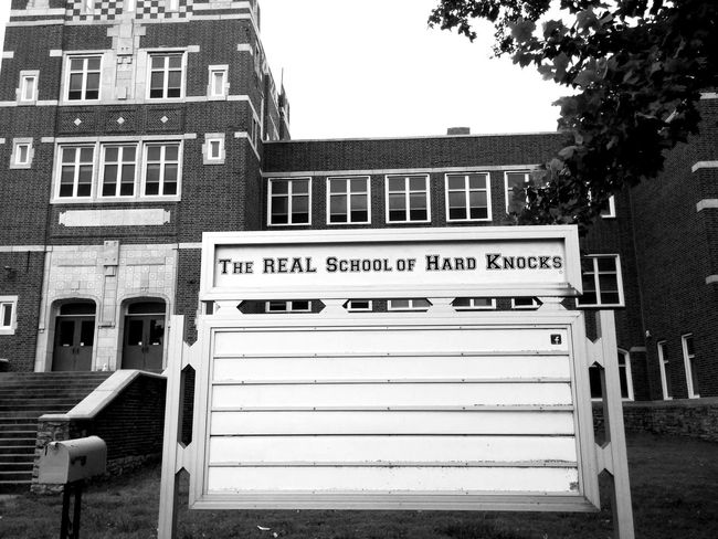 School Of Hard Knocks Urbex Urbex Photographie Urbexphotography Urbexexplorer Abandoned School Kansas Fort Scott Exploring New Ground Travel Photography Black And White Photography Sign