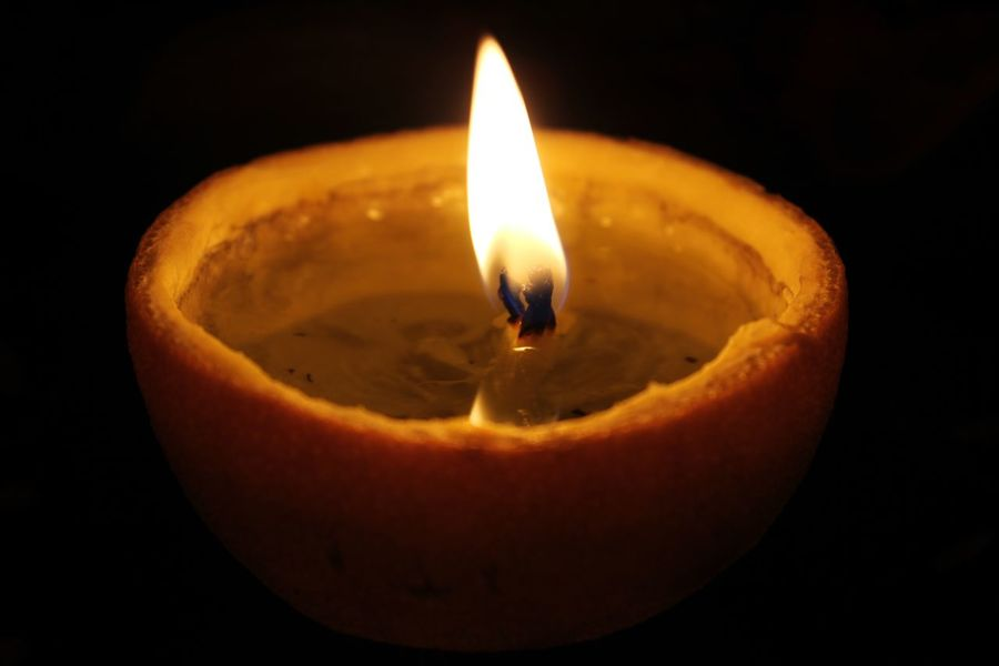Natural candle :) Burning Candle Flame Light Paint The Town Yellow Light And Shadow Orange Fruit Yellow