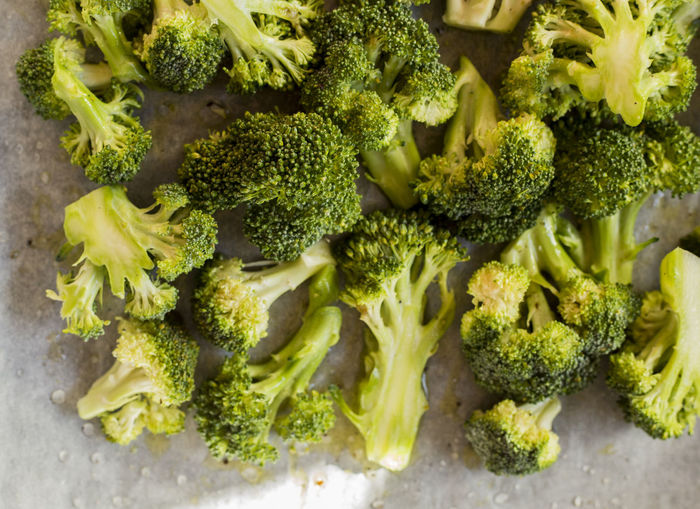Directly above shot of broccoli in tray