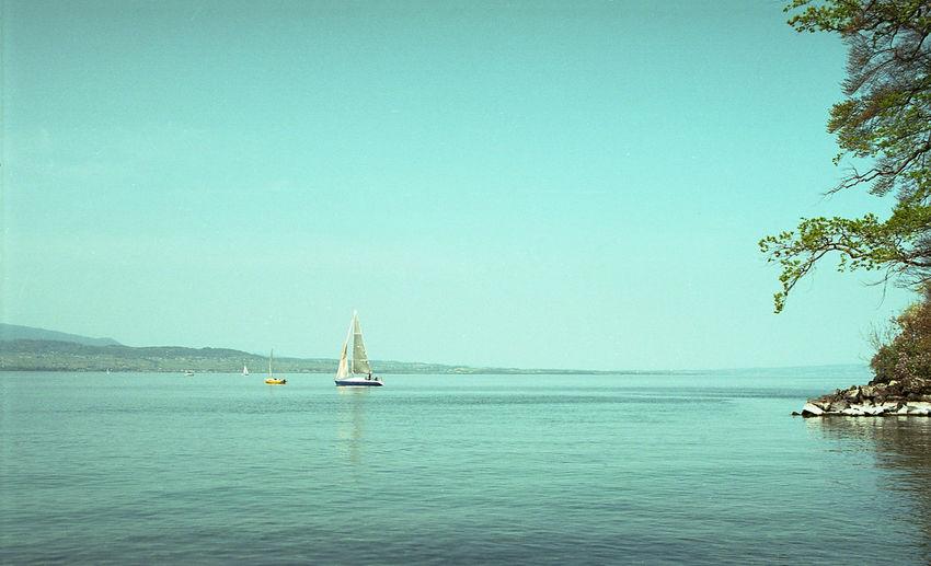 Sailboat sailing on leman lake against clear sky