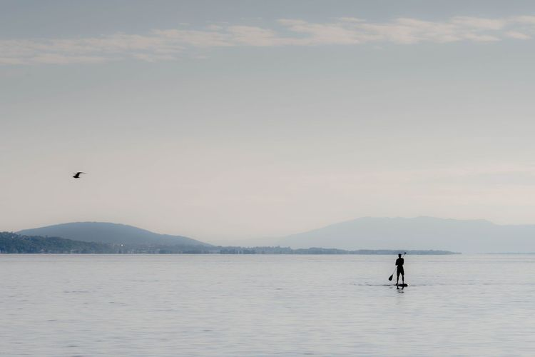 Stand up Paddle on a Lake Standuppaddle Stand Up Paddling Lac Léman Lake Mountain Outdoors Paddleboarding Scenics Water Beauty In Nature Landscape Nature Day One Person Adult #FREIHEITBERLIN
