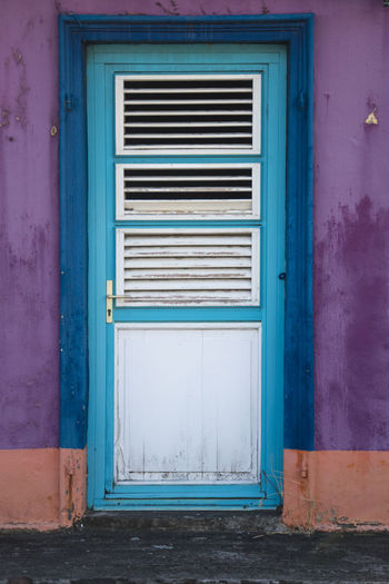 Martinique, Case Pilote Martinique Tradition Architecture Blue Building Building Exterior Built Structure Caribbean Closed Day Door Entrance House Island No People Old Outdoors Protection Safety Security Traditional Tropical Tropical Climate Turquoise Colored Wall - Building Feature Weathered Window Window Frame Wood - Material