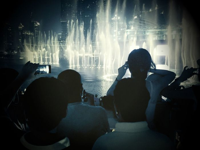 Taking Photos Of People Taking Photos Water Show Fountain Show Dubai Dubai Mall UAE UAE , Dubai Check This Out Street Photography Streetphotography IPhoneography Nightphotography Water_collection Water Fountains Fountain_collection Crowd Crowded People And Places