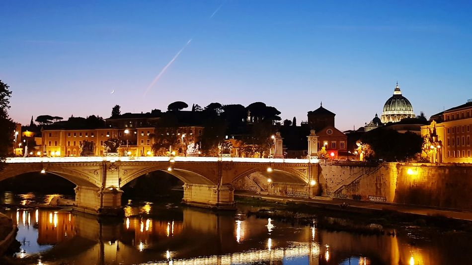 Bridgeview Rome By Night Pontesisto Rome Clear Sky Architecture Water Bridge - Man Made Structure River Illuminated Romebynight Rome Light