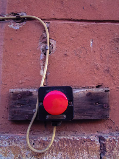 Bell Push Button Cable Close-up Detail Old Red Street Detail Wall - Building Feature Copy Space