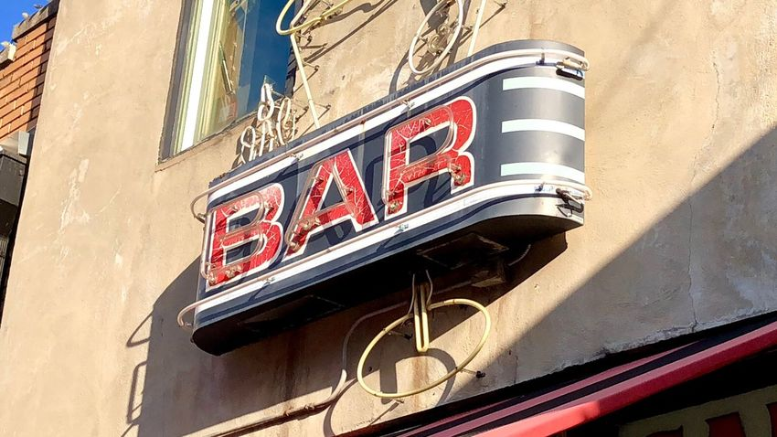 Bar! Vintage Bar Sign Bar Sign Bar Building Exterior Communication Low Angle View Built Structure No People Day Wall - Building Feature Shadow Sunlight Old