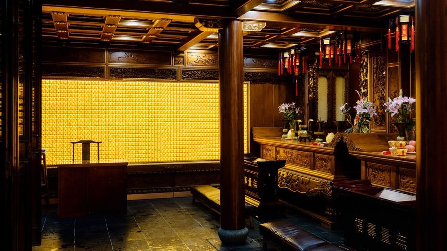 Shaghai City God Temple... Available Light Religious Architecture Indoors  Architecture Illuminated Built Structure Lighting Equipment Building No People Wealth Absence Ornate Architectural Column Table Luxury Capture Tomorrow