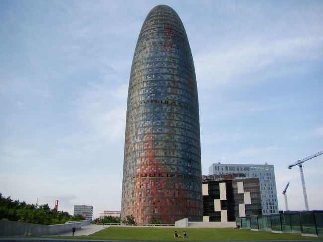 Architecture Barcelona Blue And Red Building Capital Cities  Catalonia City Cloud - Sky Landscape Modern Red And Blue Sky Skyscraper Tall - High Tower Travel Destinations