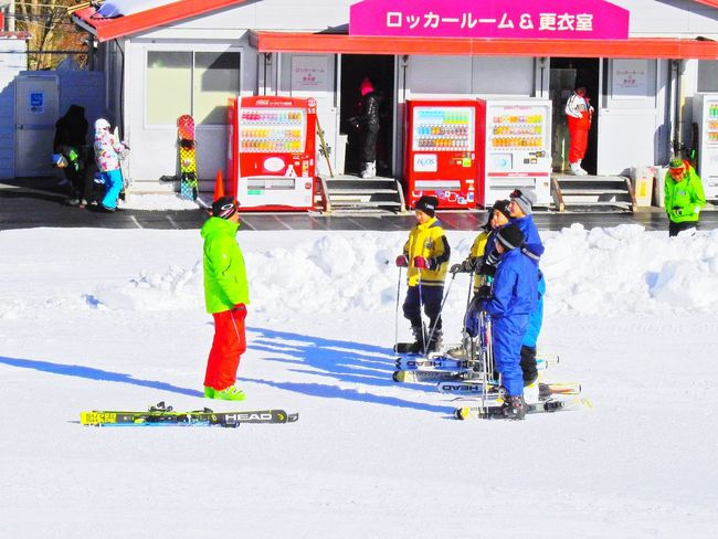 Teacher are teaching Japanese youth skiing correctly. Fujiten Snow Resort. Narusawa-mura. Japan. Beautiful Travel Destinations Standing Multi Colored Low Angle View Landscape Men Wemen Large Group Of People Real People Youth People Winter Full Length Adult Snow Headwear Outdoors Day
