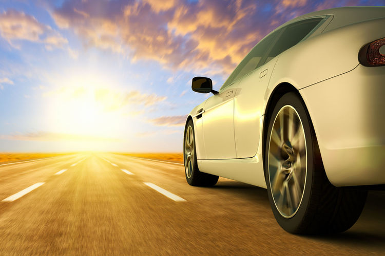 low angle view of car on motion on the road Alone Back Back End Road Traveling Blurred Motion Car Car Door Highway Land Vehicle Mode Of Transportation Motion Motor Vehicle On The Road Outdoors Road Road Trip Speed Sports Car Sunlight Sunset Tire Transportation Travel Wheel