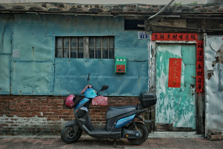 Old Town Alley Old House Red Brick Wall Repaired Steel Plate House Exterior Colors Colors And Patterns 修補萌repair Lover 壁萌 Window Door Motercycle Architecture Street Photography Streetphotography From My Point Of View Still Life No People Eye4photography  Nostalgic Landscape EyeEm Best Shots 專)yuna's 鹿港記錄 at 鹿港老街 in 彰化 zhang hua, Taiwan