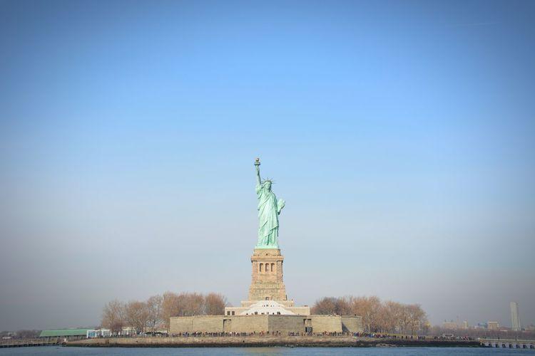 Famous Place Statue Of Liberty Liberty Island Travel Photography Nikon Scenics OpenEdit Travel Destinations USA New York New York City Libert City Cityscape Statue Blue Urban Skyline Monument