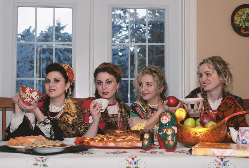 Food And Drink Group Of People Indoors  Lifestyles Portrait Rassian Women Russian Woman Smiling Table Togetherness Women Young Women Urban Fashion Jungle